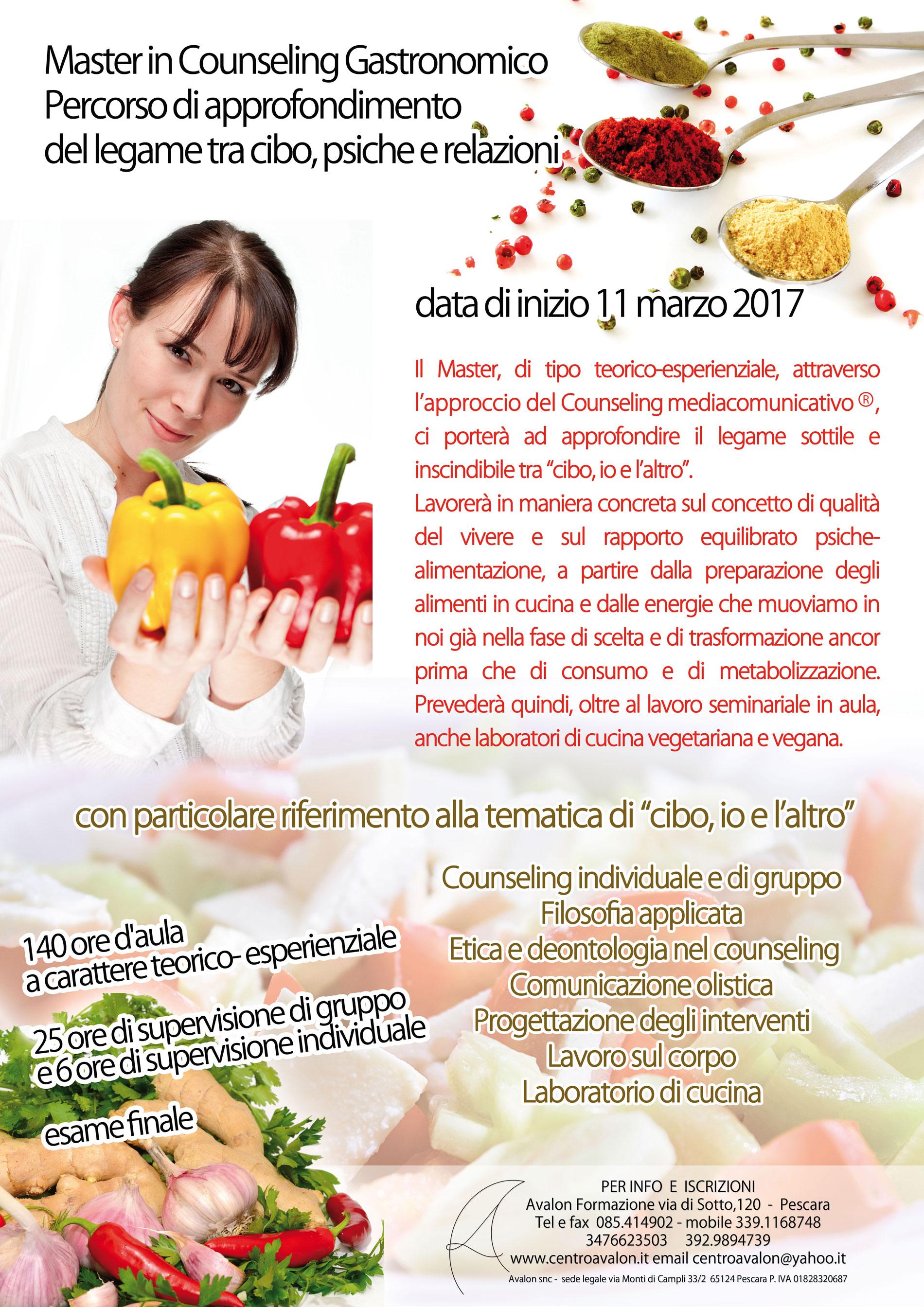 Avalon Counseling Pescara - Master in Counseling Gastronomico. Percorso di approfondimento del legame tra cibo, psiche e relazioni